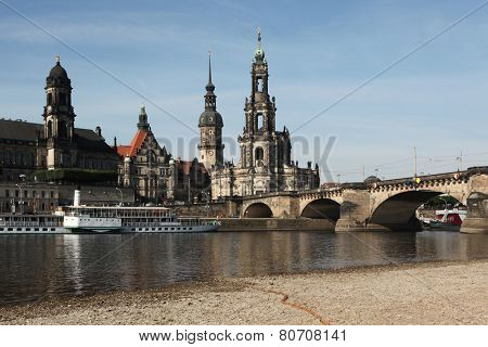 The Dresden Cathedral (Hofkirche) and the Dresden Castle (Residenzschloss) in Dresden, Saxony, Germany.