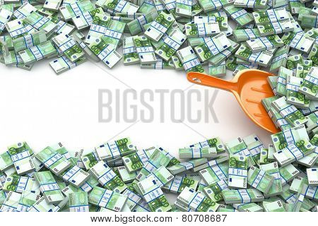 Financial money concept. Scoop and packs of euro. Space for text. 3d