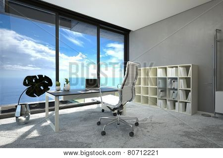 3D Rendering of Bright modern spacious office interior with a large view window with blue cloudy sky, a table, chair and computer and white bookcase on a grey wall, corner view with sunshine
