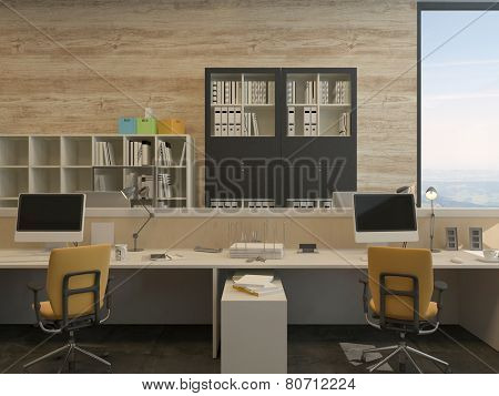 3D Rendering of Two Work Stations in Modern Office with Yellow Chairs and Flat Screen Monitors
