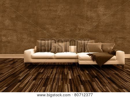3D Rendering of Conceptual Off White Couch with Brown Pillows Inside an Architectural Brown Empty Room.