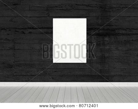 3D Rendering of Conceptual White Board, with Copy Space, Hanging on Black Wall Inside an Empty Architectural Room.