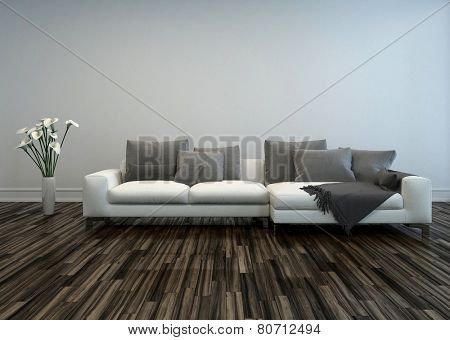3D Rendering of White Sofa with Grey Cushions and Flower Vase of Lilies in Room with Hardwood Floor