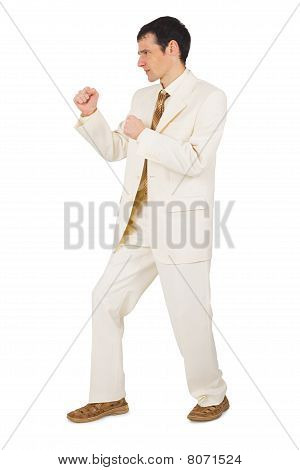 Young Businessman In Combat Stance