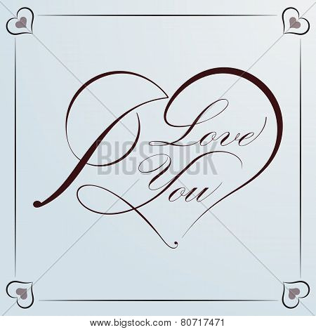 Calligraphic Heart For Valentine