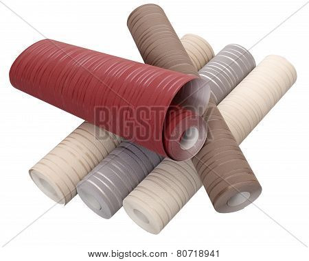 Rolls Of Wallpaper In Different Colors Isolated On White Background With Clipping Path
