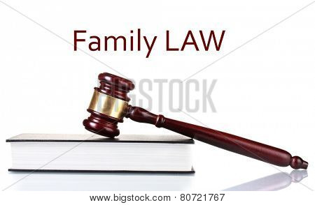 Judge's gavel on book and Family LAW text isolated on white