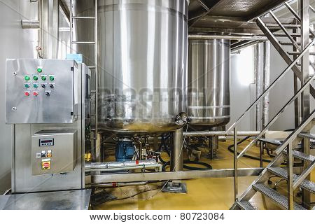 Water conditioning or distillation room with control panel equipment and water boiler or tank on pharmaceutical industry or chemical plant poster
