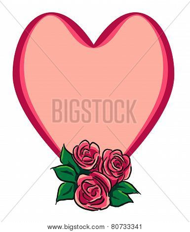 Roses and heart with message area