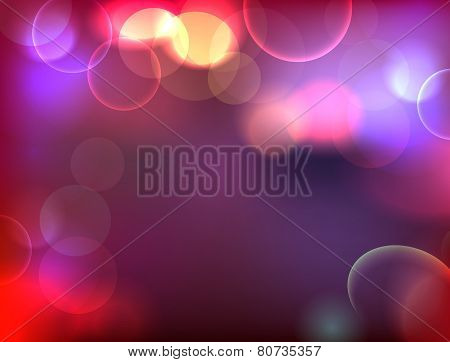 City lights abstraction. Bokeh night illustration