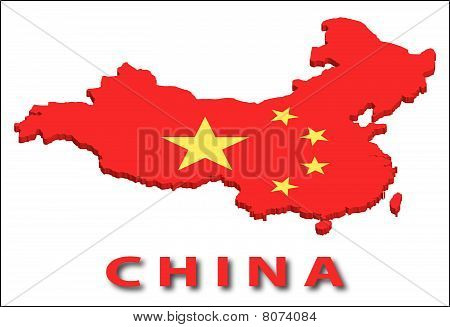 China territory with flag texture.