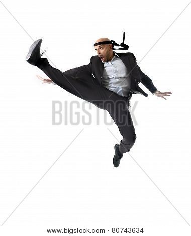 funny aggressive businessman wearing suit jumping on the air in kung fu kick or karate flying attack isolated on white background in business strength and competition concept poster