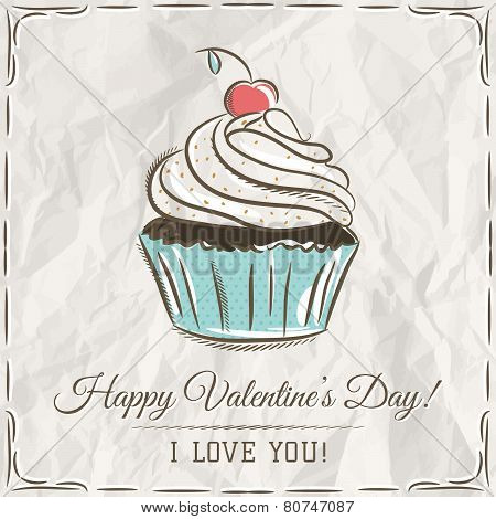 Valentine Card With  Cupcake And Wishes Text