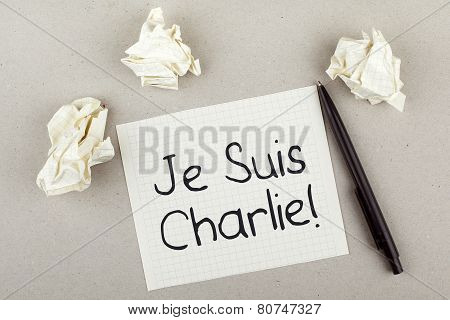 I am Charlie in French for Charlie Hebdo