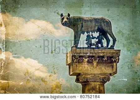 Statue With Wolf, Remus And Romulus.symbols Of Timisoara, Romania