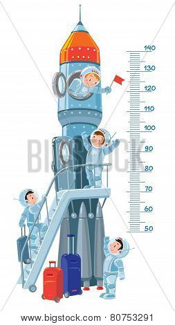 Meter wall with rocket and boys-astronauts