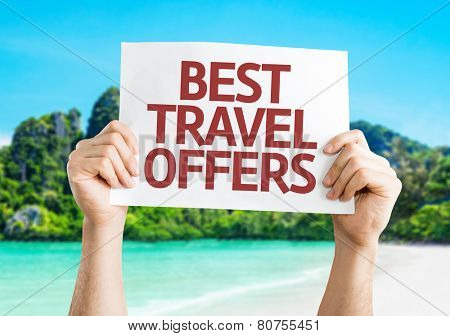 Best Travel Offers card with a beach on background