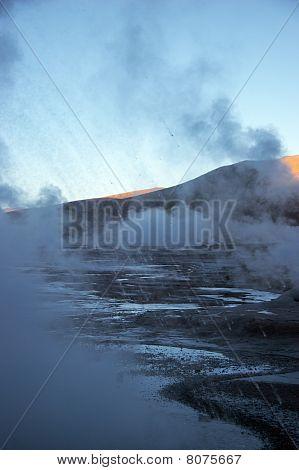 Hot Spray From Geyser Eruption, Chile