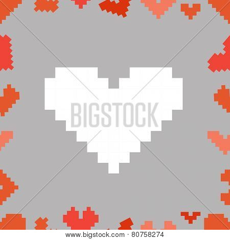 Valentine greeting card with pixel hearts