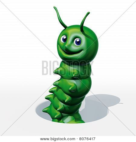 3d rendering illustration, smile green caterpillar with hole poster