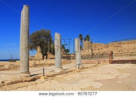 Marble Columns in Caesarea Maritima National Park