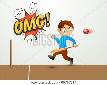 Cute little boy holding bat and running away from a red cricket ball with text OMG on pop art explosion.