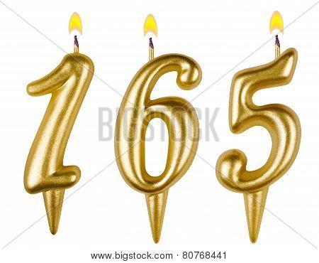 candles number one hundred sixty five isolated on white background poster