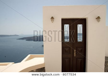 Doorway to the Sea in Santorini Greece