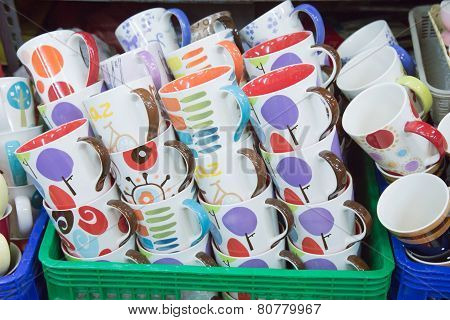 Stack Of Colorful Cups
