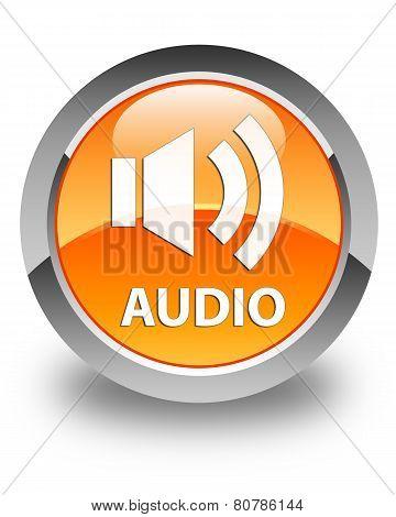 Audio Glossy Orange Round Button