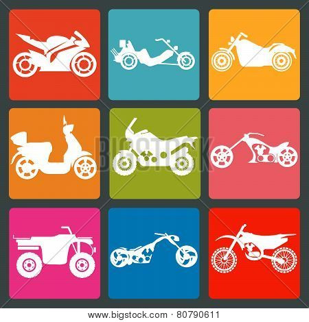 Set Of Nine Icons Of Motorbikes
