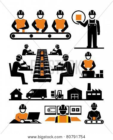 Manufacturing process assembly workers icons