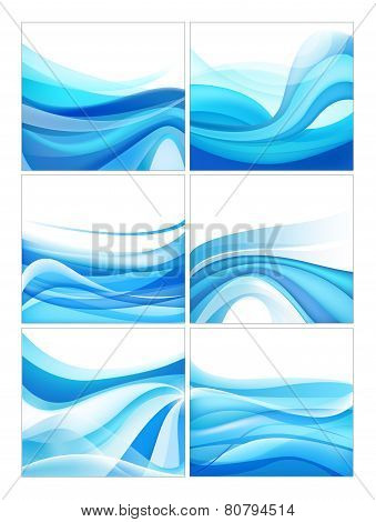 set of vector abstract blue wavy water stream backgrounds