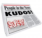 People in the News words and Kudos headline as praise and good announcement or message of a job well done poster
