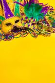 A venetian, mardi gras mask or disguise on a yellow background poster