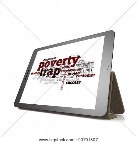 Poverty Trap Word Cloud On Tablet