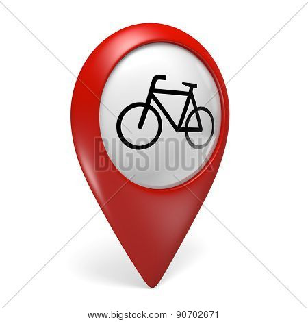 3D red map pointer icon with a bicycle symbol for bike rentals and cycling