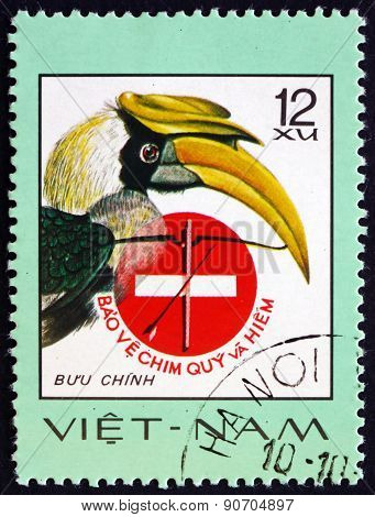 Postage Stamp Vietnam 1977 Great Hornbill, Rare Bird