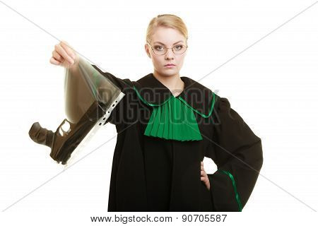 Law court or justice concept. Woman lawyer attorney wearing classic polish black green gown with weapon gun - bag marked evidence for crime. isolated on white poster