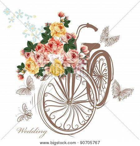Bicycle With Basket Fully Of Rose Flowers