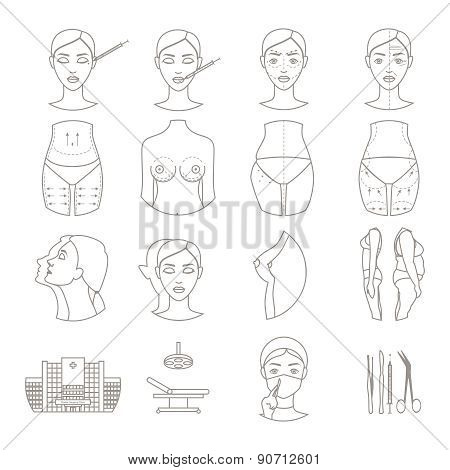Plastic surgery sketch icons set
