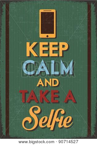 """Retro Poster with the idea""""Keep Calm and Take a Selfie"""" with green background poster"""