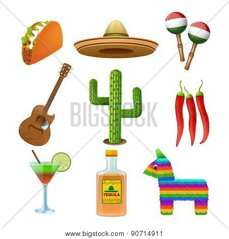 Mexican icons set flat