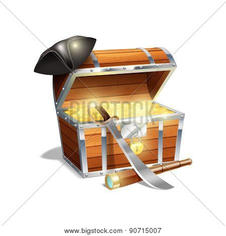 Pirate treasure chest illustration