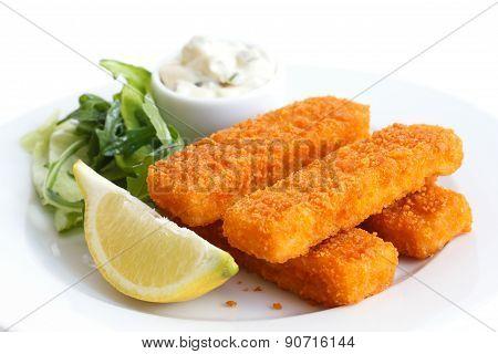 Golden fried fish fingers.