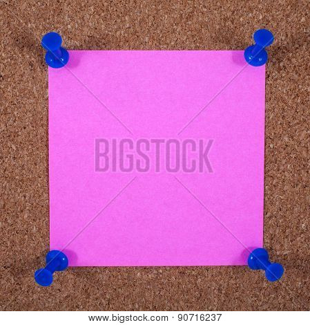 Sticky Page Pinned To A Noticeboard