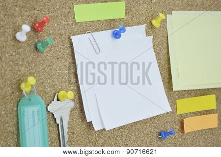 Sticky Notes, Pin, Key And Tag Name On Cork Board