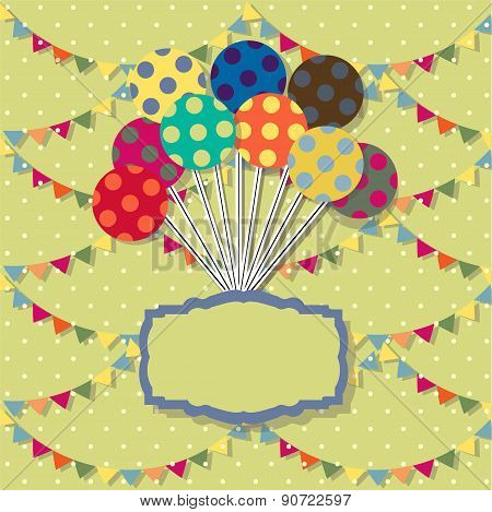 Happy birthday card. Celebration  background with balloon, colored carnival caps and place for your