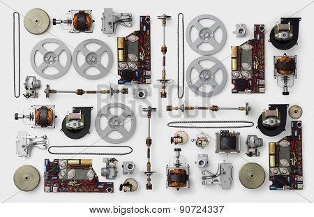 Parts Of A Vintage Film Projector