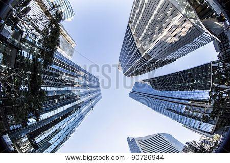 Brisbane skyrises, view looking up